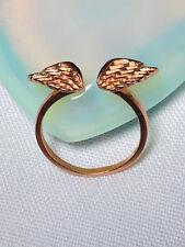 Angel Wings Ring - Adjustable Stacking Ring - Silver Ring - Rose Gold Ring
