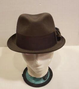 Dobbs Fifth Avenue Fur Felt Fedora Hat Size 7 / 7-1/8 Slate Gray