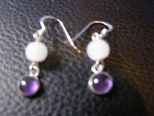 Lovely Amethyst And Moonstone Gemstone Drop Earrings In 925 Silver