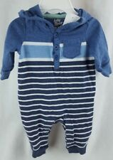 NEW OSHKOSH 0-3 Month Blue Striped Long Sleeve Hooded OUTFIT