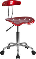 Flash Vibrant Wine Red and Chrome Computer Task Chair with Tractor Seat