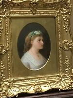 19th Century Portrait, ENGLISH SCHOOL, YOUNG GIRL WITH FLOWERS IN HER HAIR.