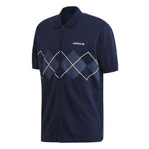 adidas ORIGINALS MEN'S ARGYLE TENNIS T-SHIRT TEE NAVY BLUE SUMMER SMART NEW BNWT