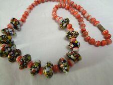 Vintage Saucer Millefioiri Glass z& Coral Art Glass Beaded Necklace Barrel Clasp