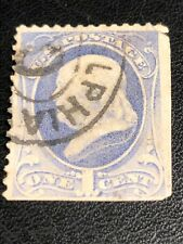 More details for rare early stamp 1800s benjamin franklin 1 one cent stamp odd cancellation mark