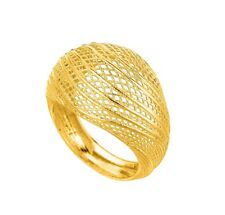 Stil Novo 14k Yellow Gold Textured Domed Mesh Graduated Wavy Top Ring Size 7