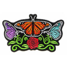 Embroidered Butterflies and Rose Flower Sew or Iron on Patch Biker Patch