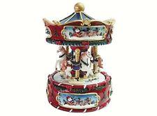 Carrousel Noël H.17 Avec Carillon Mécanique Musique Noël Chevaux Indexable 1122