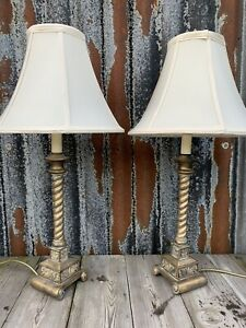 Vintage Pair Tall Columns Table Lamps