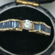 Diamond Sapphire 14kt Yellow Gold Ring Incredible works of Art, Vintage .85ct