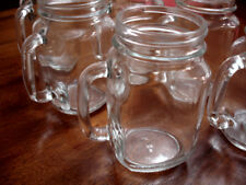 6 Mason Jar Type Glass Mugs With Handles - Smooth Rims For Drinking