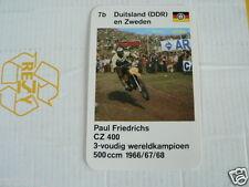 23 MOTO-CROSS 7B DDR/SWEDEN PAUL FRIEDRICHS CZ 400 KWARTET KAART, QUARTETT CARD,