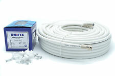 20M Meter White RG6 Satellite Freesat Coax Cable Lead 4 Sky Plus HD TV Coaxial