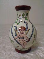 Antike Keramik Vase - Engel / Putti / Amoretten - handgemalt - um 1910 - Vintage