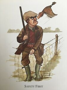"""AWKWARD MOMENT GROUSE HUNTER SHOOTING Mounted Print 10x8"""" Art Picture Humour 93"""