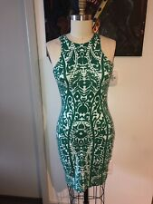 H&M Kelly Green & Mint Green Sleeveless Paisley Print Bodycon Fitted Dress M