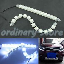 1 Pair 12 LED Flexible Car DRL Daytime Running Light Driving Daylight Fog Lamp
