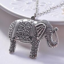 Exquisite Sweater Chain Elephant Pendant Necklace Retro Silver Jewelry Unusual