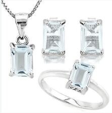 WHITE AQUAMARINE SILVER NECKLACE RING SET  CWT EARTH MINED STONES NO EARRINGS!!!