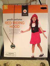 Girls Little Red Riding Hood Costume Glitter Dress Small 4-6 + Matching Necklace