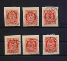 GREECE CRETE 19080 POSTAGE REVENUE 6 DIFFERENT USED STAMPS ON PIECES