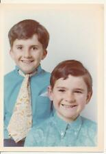 2 Young boys in blue shirt portrait - 1960-70s vintage photo