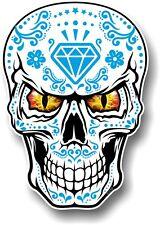 GRANDE Messicano Sugar Skull realistico Blue & White & Evil Eyes Auto Adesivo Decalcomania