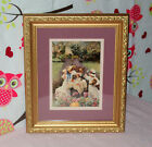 """Sister's Tea-party Print Matted in Gold Ornate Frame 12 1/4"""" x 10 1/4"""" Pretty!"""
