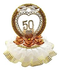 50th Anniversary Cake Top Crystal Like Flowers and Gold Circle Decorated in Gold