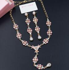 Betsey Johnson Fashion Rare Crystal Enamel Pink Flowers Sets Earring Necklace
