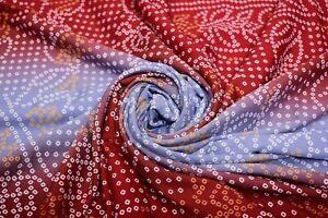 Vintage Rouge Indien Bhandez Saree Pure Soie Tissé Craft 4.6m Tissu Sari Kimono