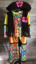 Spencer Gifts Hippie 3-Pieces Fringe Vest Bell Bottom Dress Up Costume SZ M (N)
