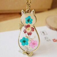 Cat Natural Real Pressed Flower Resin Glass Pendant Necklace Women Girls jewelry