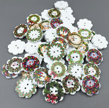 50X Christmas wreath Shape Wooden Sewing Buttons decoration Scrapbooking 20mm
