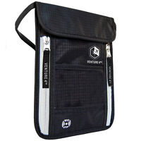"""VENTURE 4TH Travel Neck Pouch Neck Wallet with RFID Blocking 5.5"""" x 8"""" + Colors"""
