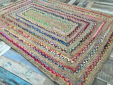 ❤️Braided Border Striped Rug Natural Jute Multi Colour Fabric Rag 120cm x 180cm