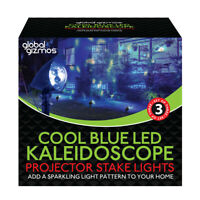 Christmas Workshop Outdoor Set of 3 LED Kaleidoscope Path Stake Lights Cool Blue