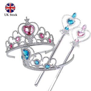 2 Pieces Kids Girls Princess Queen Cosplay Crown Magic Wand Set Accessories Gift
