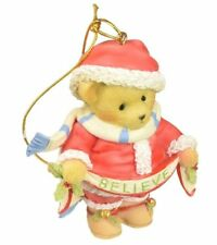Cherished Teddies Santa Bear Holding Believe Banner Christmas Ornament 4059135