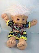 "13"" Russ Berrie Treasure Trolls Plush Doll 1991 Wearing Summer Short Outfit"