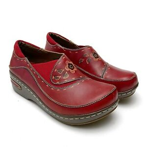L'Artiste Burbank Spring Step Red Tooled Leather Slip On Clogs Womens 38 7.5-8