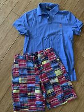 LOT BOYS POLO RALPH LAUREN PLAID PATCHWORK SHORTS (16) AND SHIRT (M)
