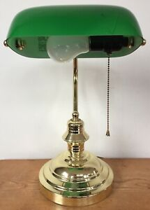 Vtg Style Emerald Green Glass Brass Metal Pull Chain Bankers Desk Lamp Works