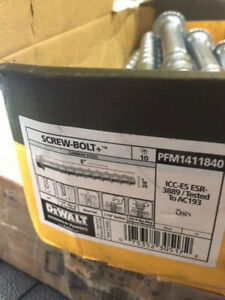 "(Box of 10) DEWALT ENGINEERED BY POWERS Concrete Anchor Screw, 8"" PFM1411840 NEW"