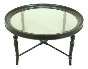 50999EC: Regency Style Large Round Black & Gold Coffee Table
