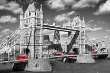 LONDON - TOWER BRIDGE POSTER - 24x36 SHRINK WRAPPED RED BUSES UK 33593