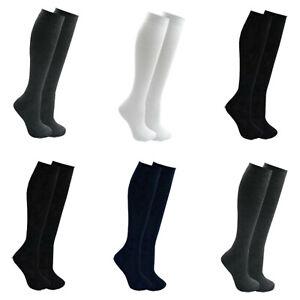 Girls Plain Knee High Socks Children Cotton Rich Lycra Long School Uniform