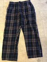 WOOLRICH Mens Lounge Pants Pajama Bottoms M Blue Plaid Elastic Waist Cotton