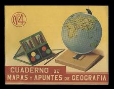 1950s Atlas Coloring Book, Cuaderno de Mapas y Apuntes de Geografia, Guatemala