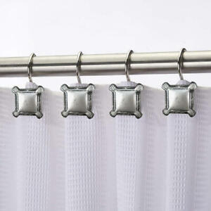 12 SILVER METAL SQUARES SHOWER CURTAIN HOOKS VINTAGE ANTIQUED STEEL CHROME RINGS